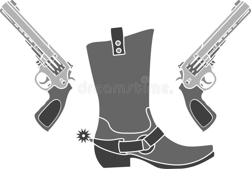 Pistolen und Stiefel mit Spornen lizenzfreie abbildung