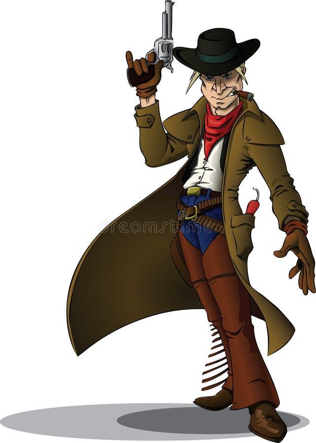 Pistolenheldcowboy stock abbildung