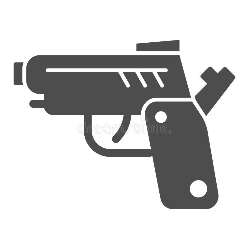 Pistolenk?rperikone Gewehrvektorillustration lokalisiert auf Wei? Waffe Glyph-Artentwurf, bestimmt f?r Netz und App ENV vektor abbildung