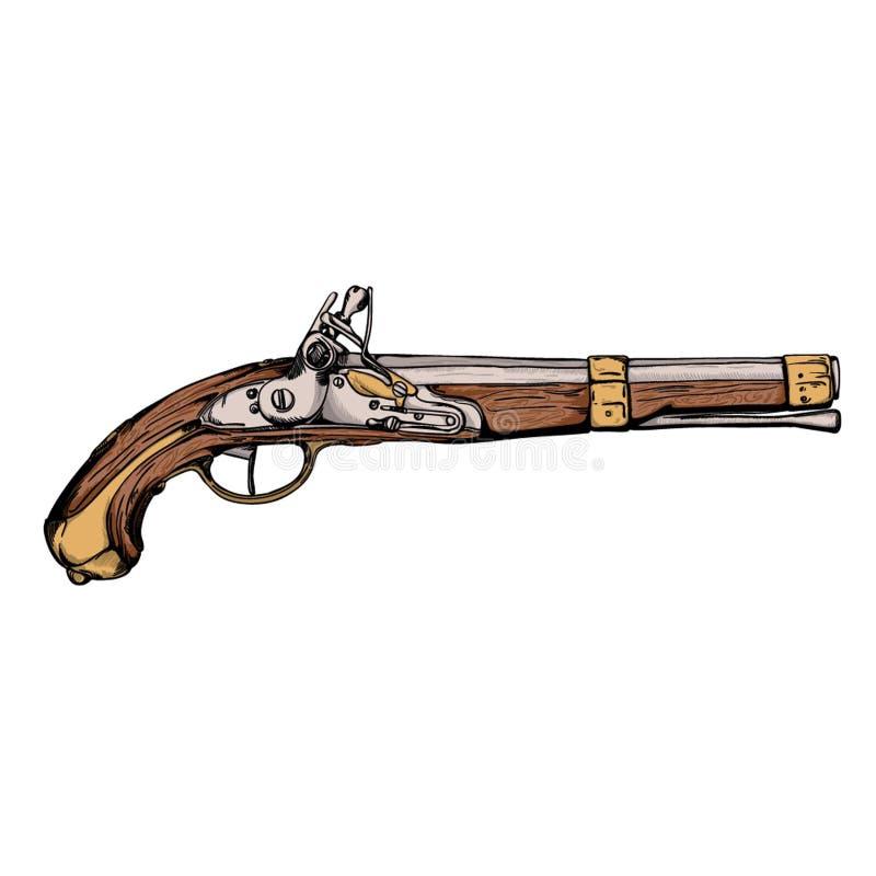 Pistolenwaffenweinlese des 18. Jahrhunderts stockfotos