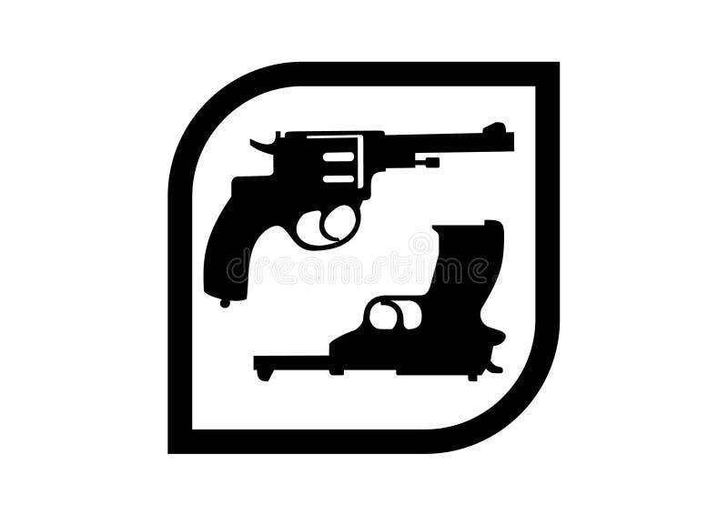 Pistoler för logo två i en fyrkant royaltyfri fotografi