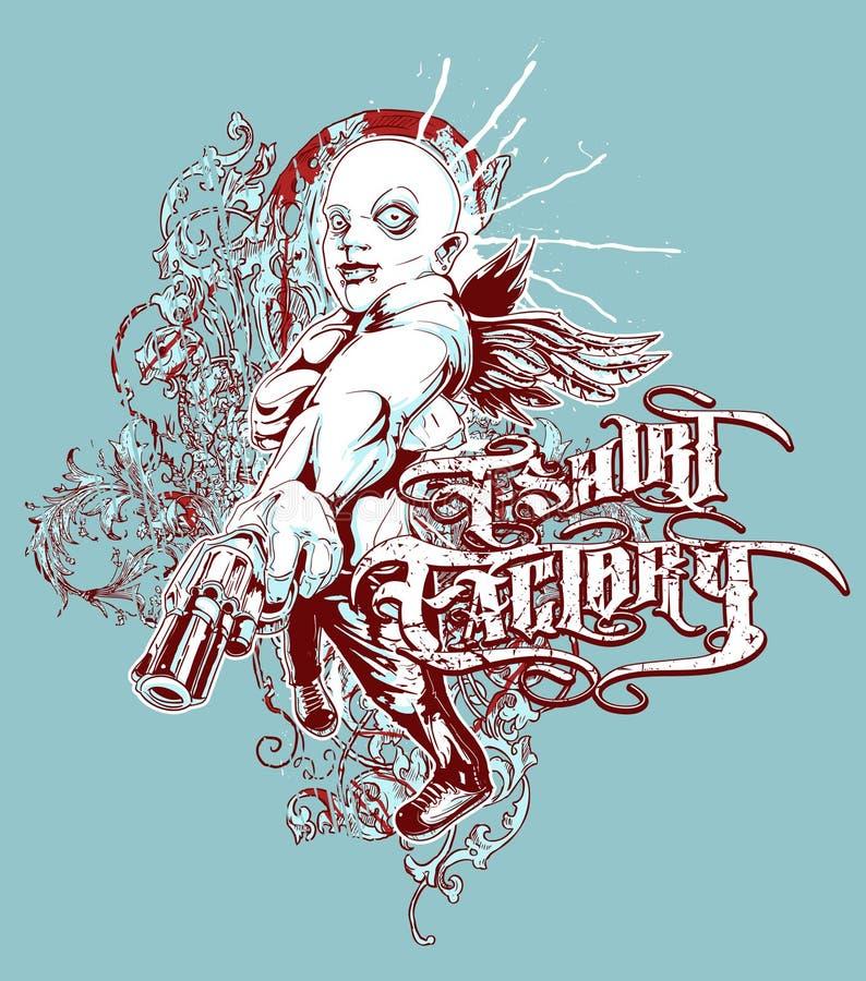 Pistolero de la fábrica de la camiseta ilustración del vector