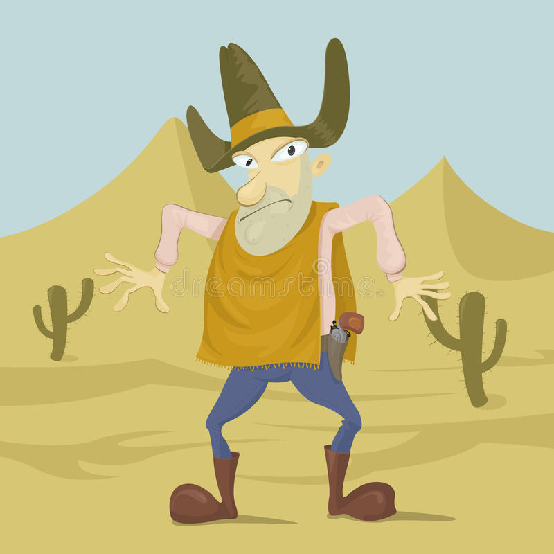 Pistolero en el desierto libre illustration