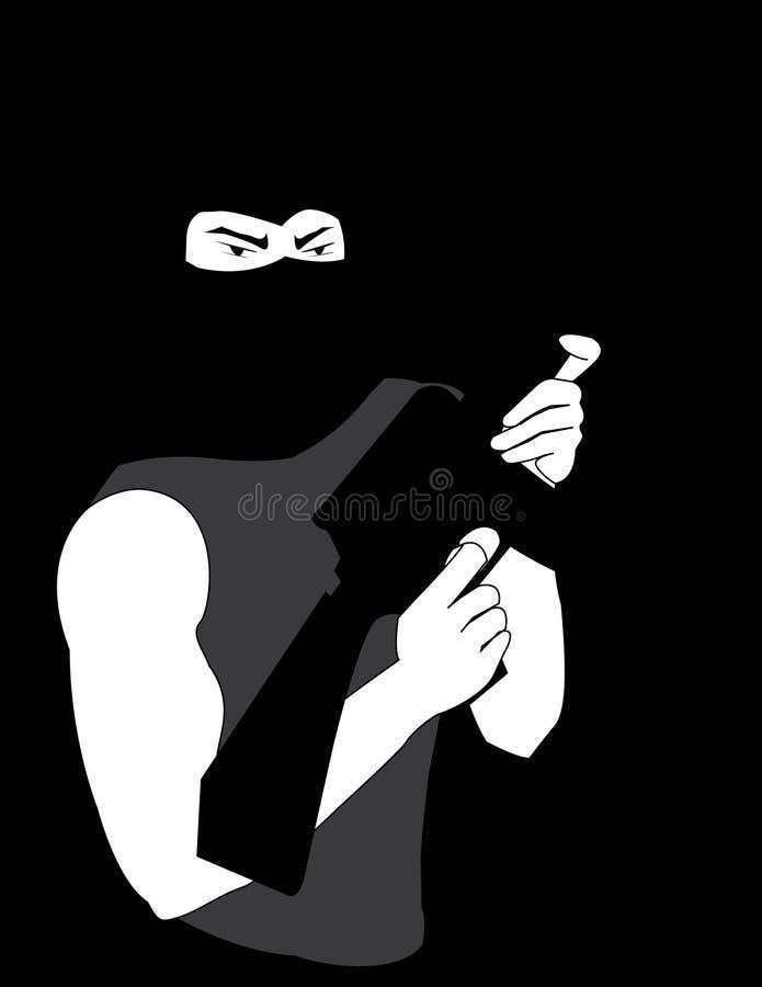 Pistolero enmascarado ilustración del vector
