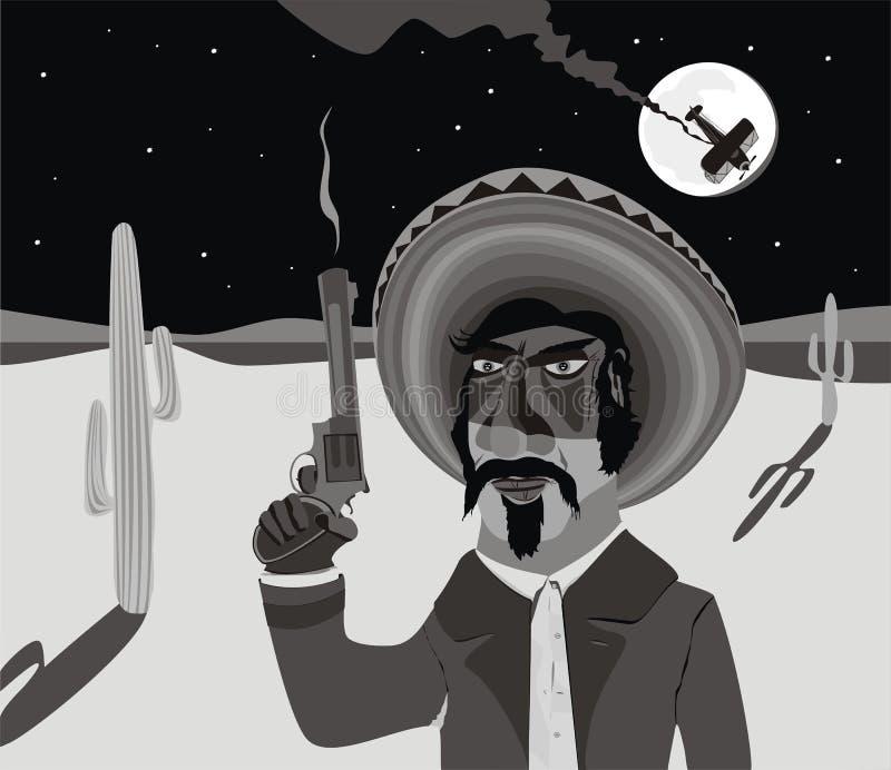 Pistolero mexicano ilustración del vector