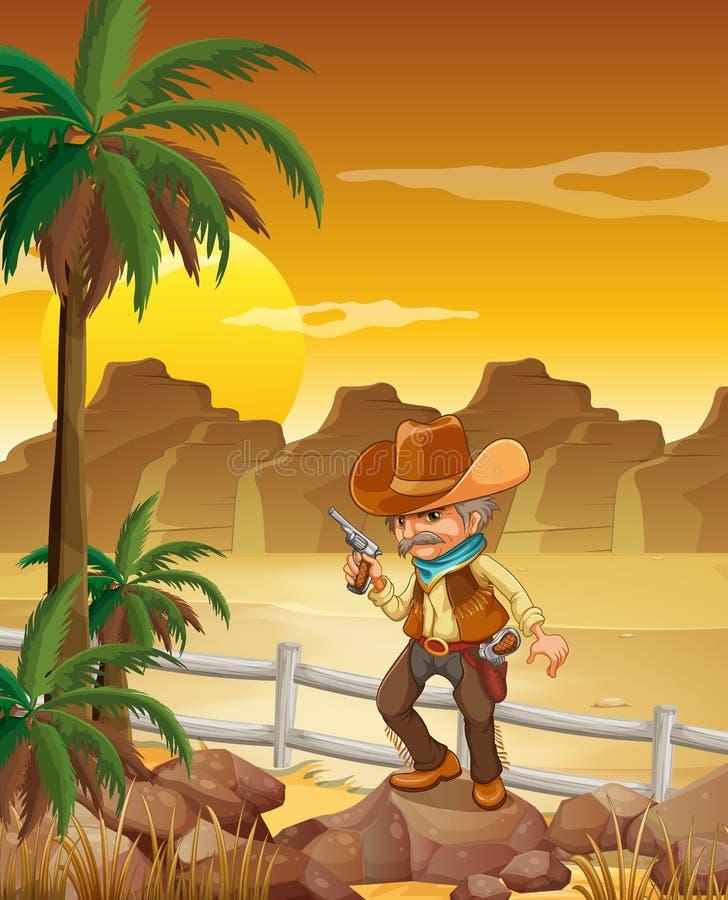 Pistolero que se coloca sobre roca cerca de las palmeras ilustración del vector