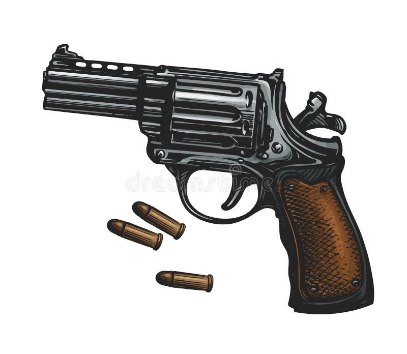 Pistolet, arme à feu de revolver et munitions, croquis Illustration de vecteur de vintage illustration stock