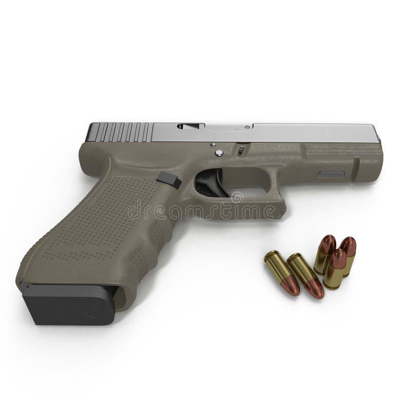 Pistolet automatique avec des munitions sur le blanc illustration 3D illustration libre de droits