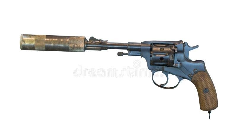 Pistolet avec un silencieux d'isolement sur le fond blanc revolver fait taire avant photos libres de droits