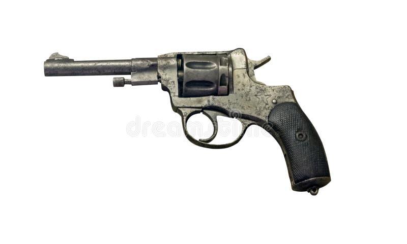 Pistolet avec un silencieux d'isolement sur le fond blanc revolver fait taire avant image stock