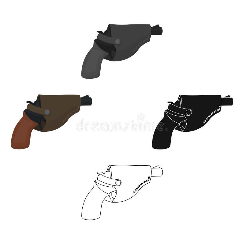 Pistolet dans l'?tui, armes ? feu Ic?ne simple r?v?latrice de pistolet dans la bande dessin?e, illustration noire d'actions de sy illustration libre de droits