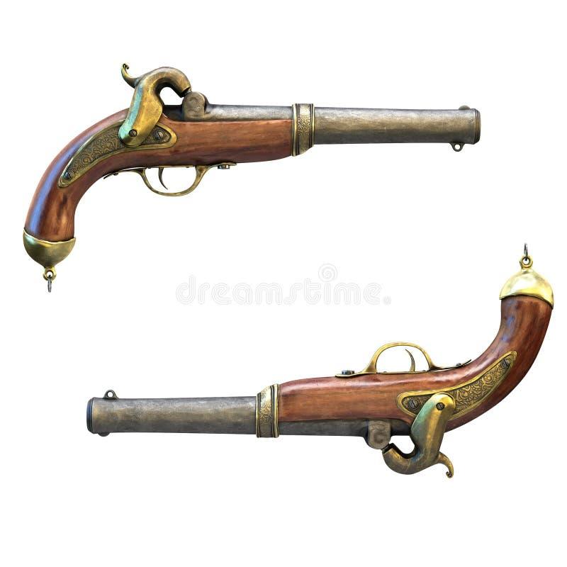 Pistolet de pirate, d'isolement sur un fond blanc illustration 3D photos stock