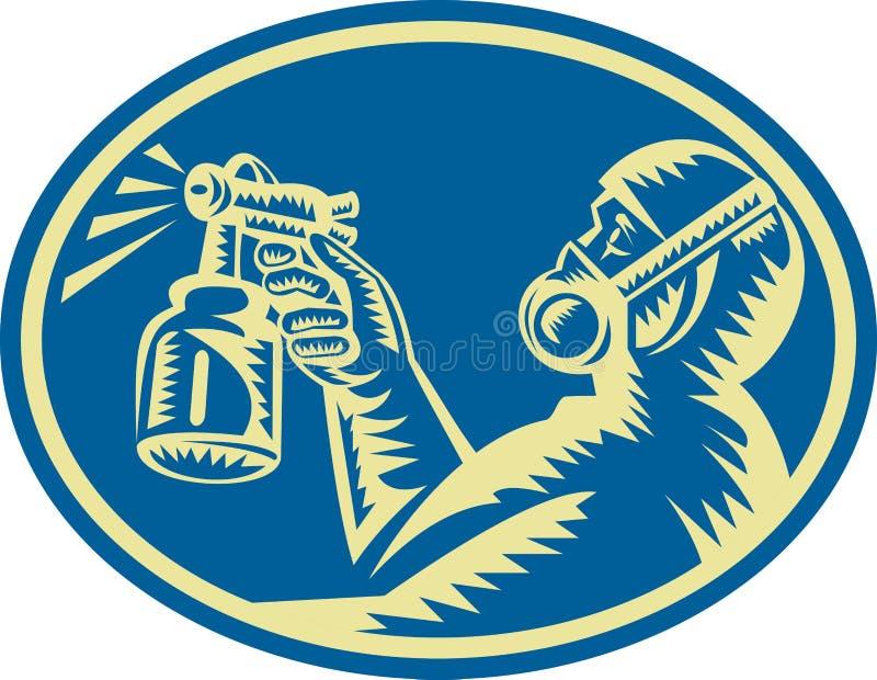 Pistolet de pulvérisation de peintre de jet rétro illustration stock