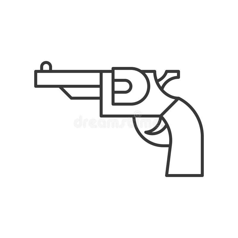 Pistolet de revolver, course editable d'icône relative de police illustration de vecteur