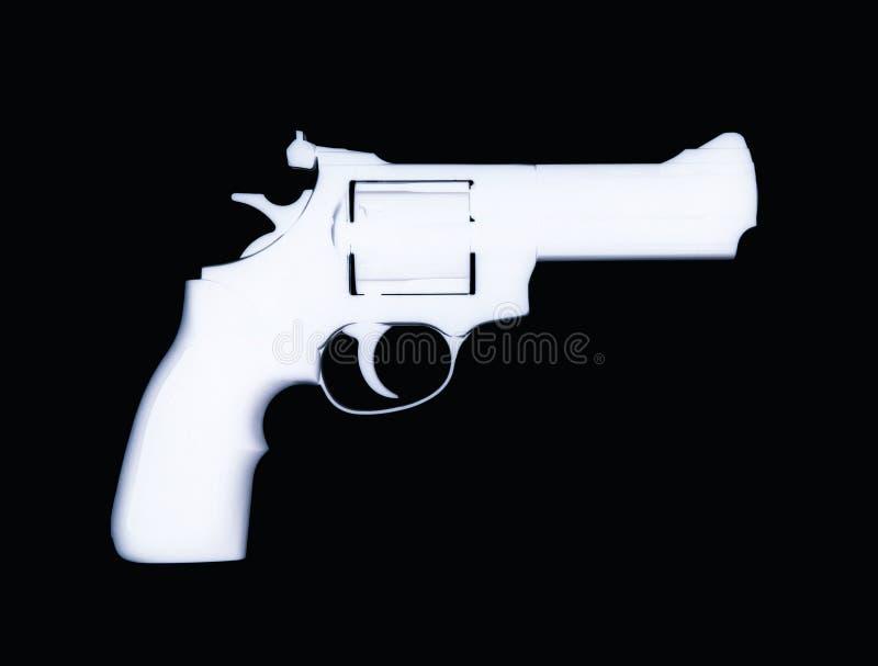 Pistolet de revolver d'isolement sur le fond noir photographie stock libre de droits