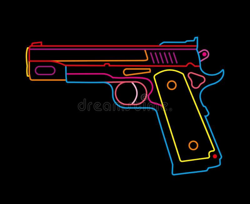 Pistolet - enseigne au néon illustration stock