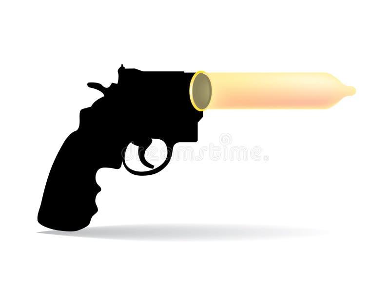 Pistolet i kondomy ilustracji