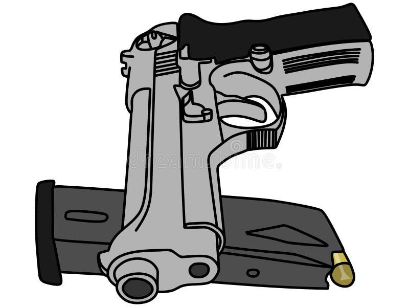 Pistolet i magazyn ilustracja wektor