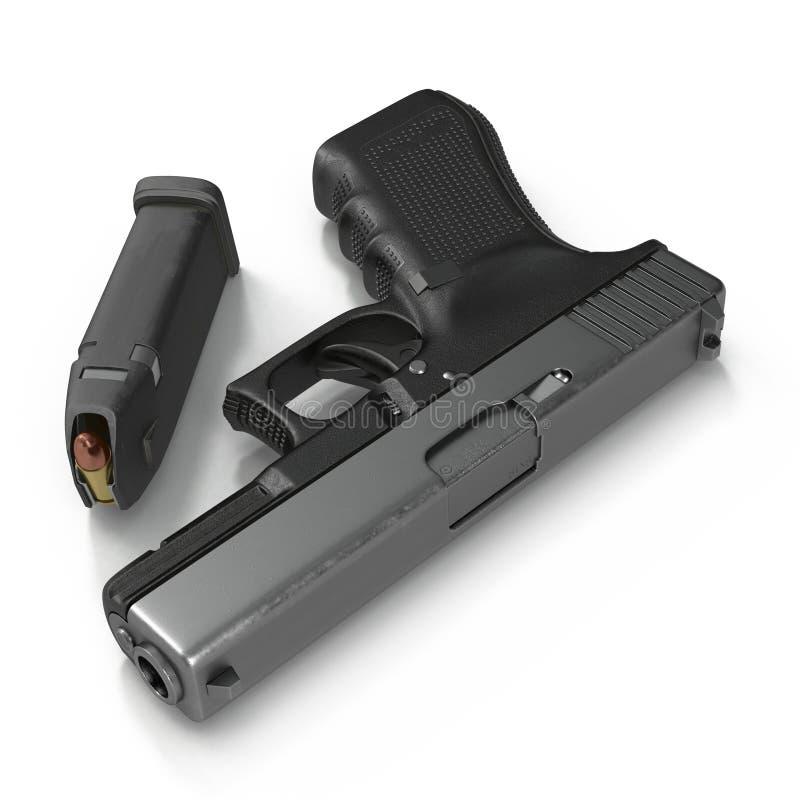 Pistolet noir automatique avec des munitions sur le blanc illustration 3D illustration de vecteur