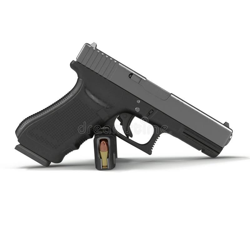 Pistolet noir automatique avec des munitions sur le blanc illustration 3D illustration libre de droits