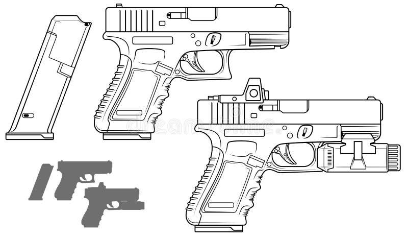 Pistolet noir et blanc graphique avec la lampe-torche illustration libre de droits