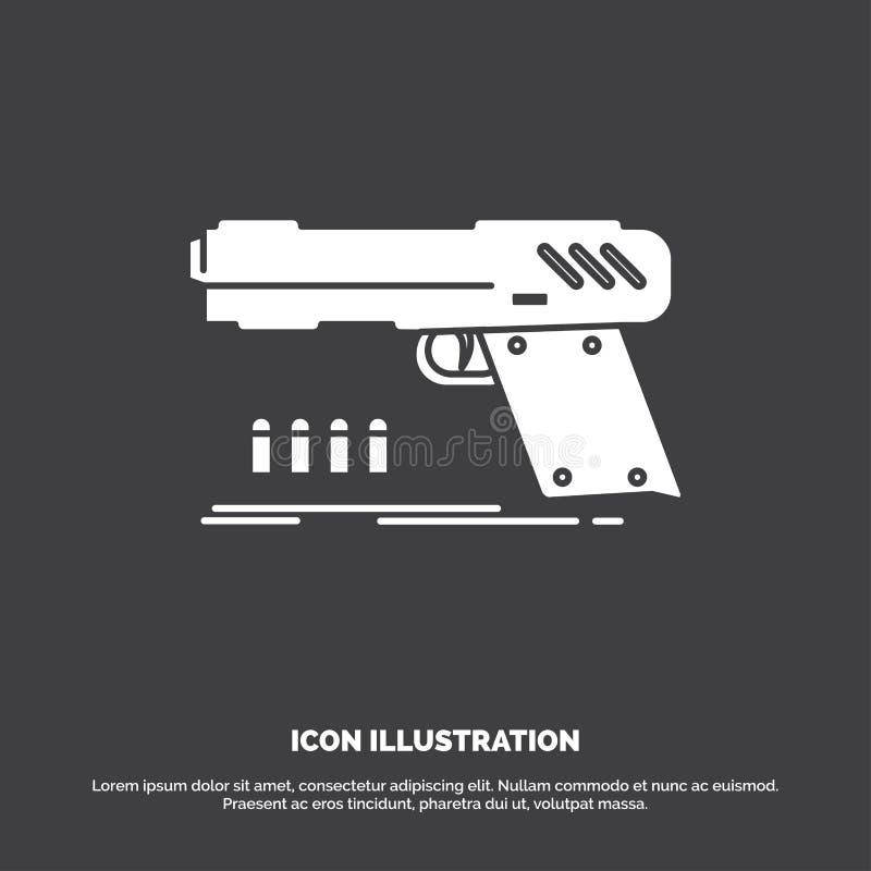 pistolet, pistolecik, krócica, strzelający, broni ikona glifu wektorowy symbol dla UI, UX, strona internetowa i wisz?cej ozdoby z ilustracji