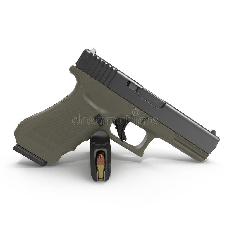 Pistolet semi automatique avec la magazine et les munitions sur un blanc illustration 3D illustration de vecteur