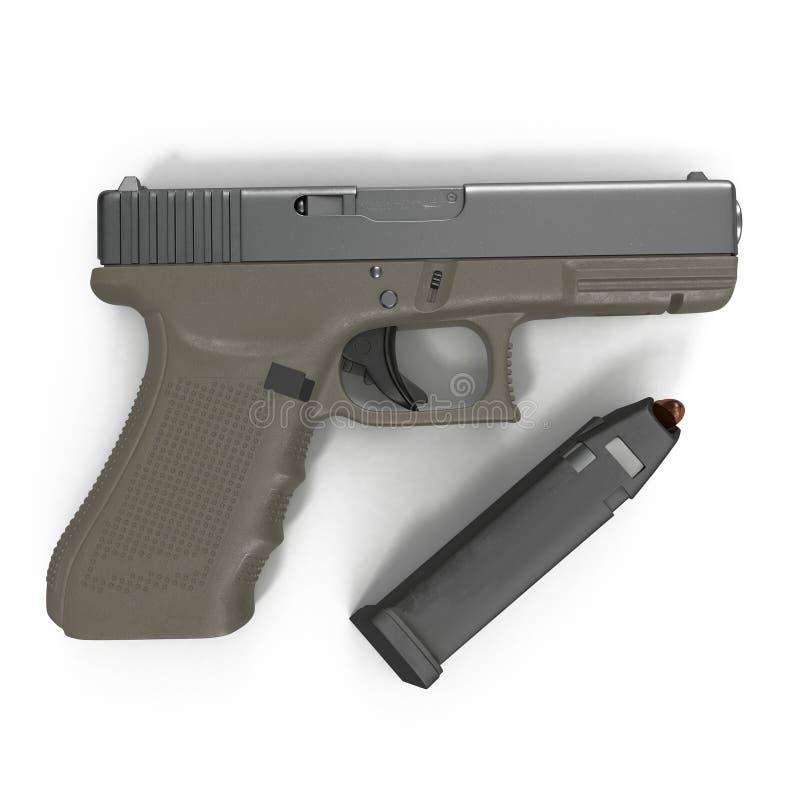 Pistolet semi automatique avec la magazine et les munitions sur un blanc illustration 3D illustration stock