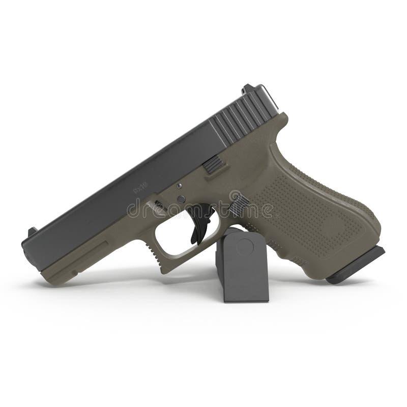 Pistolet semi automatique avec la magazine et les munitions sur un blanc illustration 3D illustration libre de droits