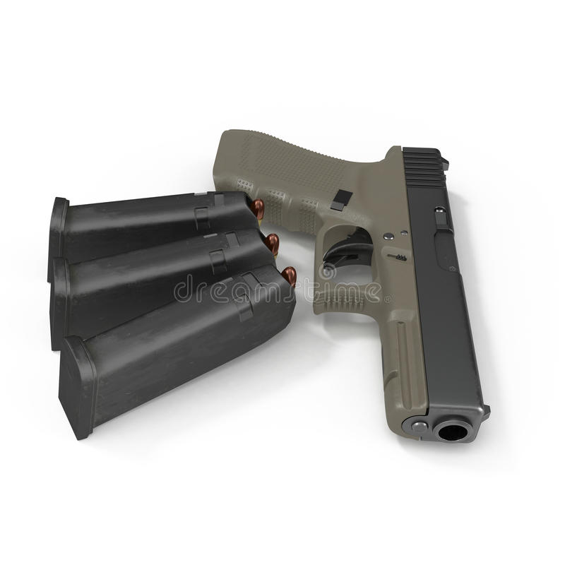 Pistolet semi automatique avec la magazine et les munitions sur un blanc illustration 3D illustration libre de droits