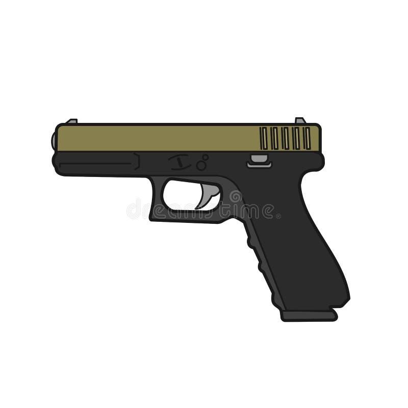 pistolet semi-automatique de 9mm Illustration moderne de vecteur d'arme à feu illustration stock