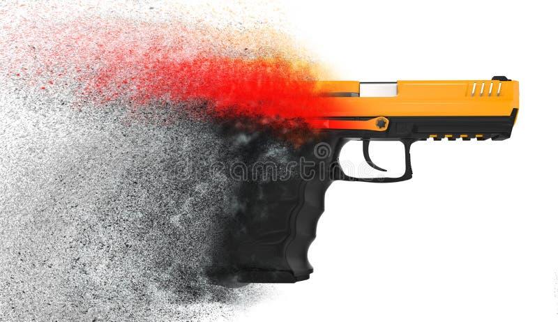 Pistolet semi automatique moderne se dissolvant dans des particules illustration libre de droits