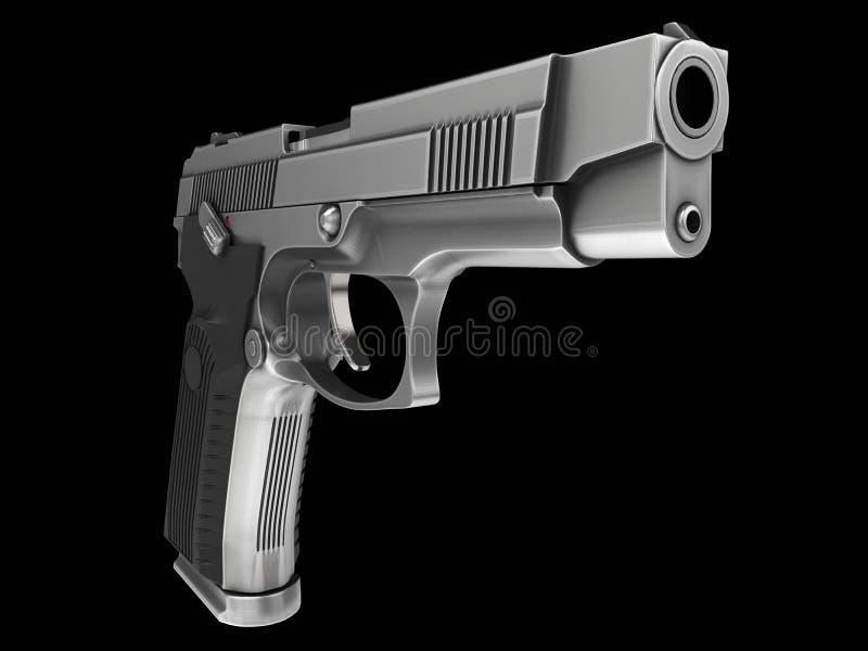 Pistolet semi-automatique moderne tactique - finition en acier - plan rapproch? tir? du baril illustration libre de droits