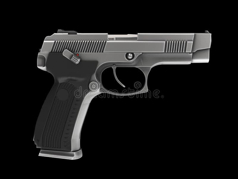 Pistolet semi-automatique moderne tactique - finition en acier - vue de c?t? illustration stock