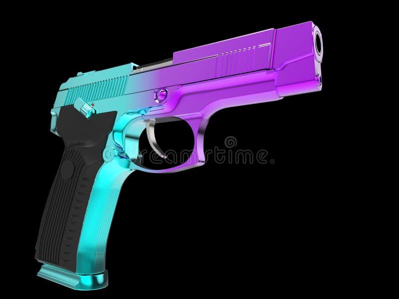 Pistolet semi-automatique moderne tactique - finition soumise ? un traitement thermique de ton de deux couleurs - cyan et magenta illustration stock