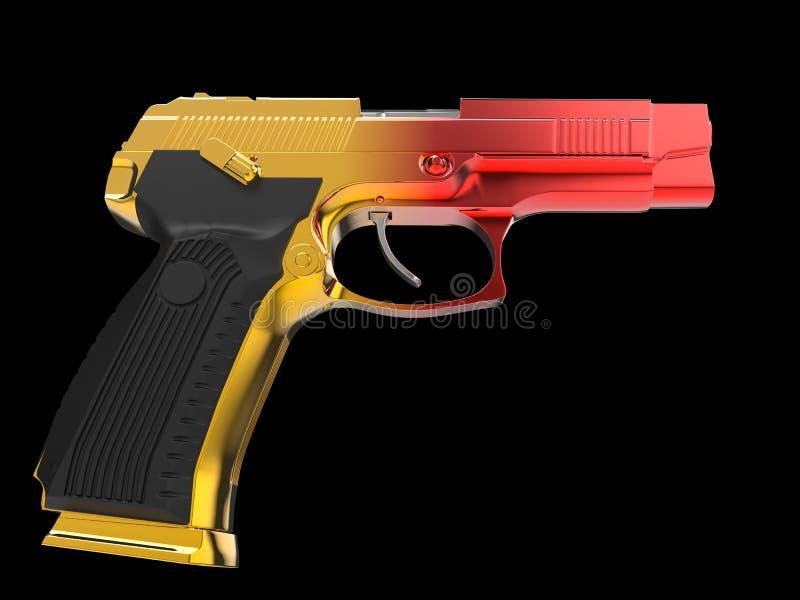 Pistolet semi-automatique moderne tactique - finition soumise ? un traitement thermique de ton de deux couleurs - rouge et jaune illustration libre de droits