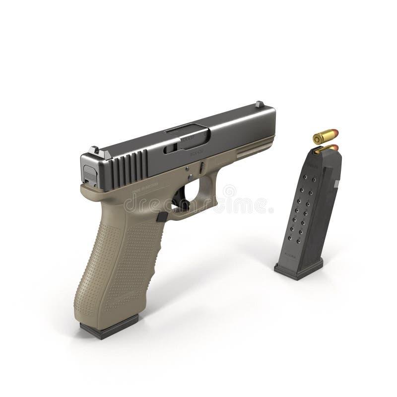 Pistolet semi-automatique sur l'illustration 3D blanche illustration libre de droits