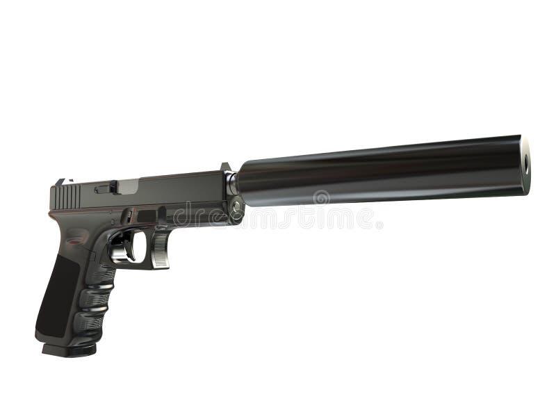 Pistolet tactique moderne semi-automatique avec le silencieux illustration stock