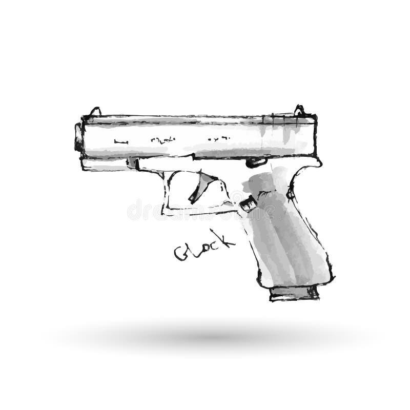 Pistolet tiré par la main Glock sur le blanc illustration libre de droits