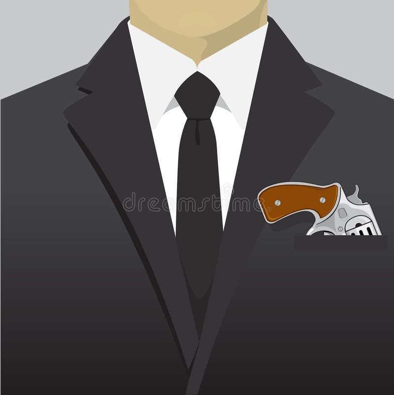 Pistolet w kieszeniowym kostiumu biznesmenie zdjęcie stock