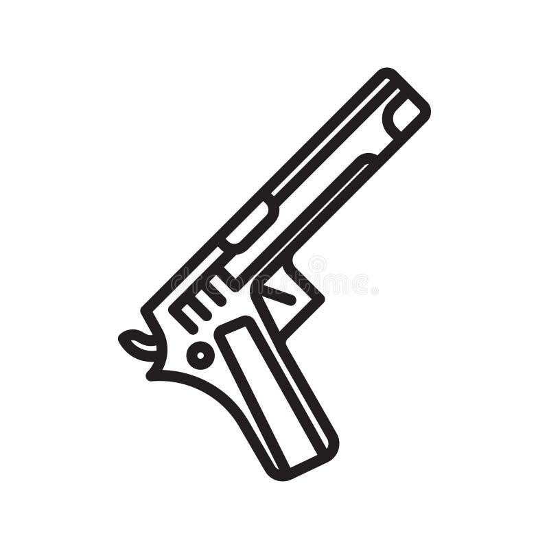 Pistoletowy ikona wektoru znak i symbol odizolowywający na białym tle, Pistoletowy logo pojęcie, konturu symbol, liniowy znak royalty ilustracja