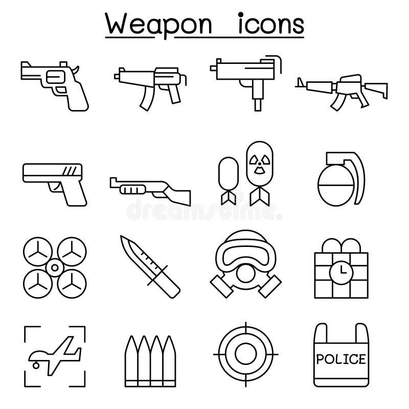 Pistoletu & broni ikona ustawiająca w cienkim kreskowym stylu royalty ilustracja