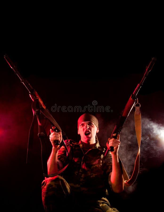 pistolety target1284_0_ żołnierza dwa obrazy stock