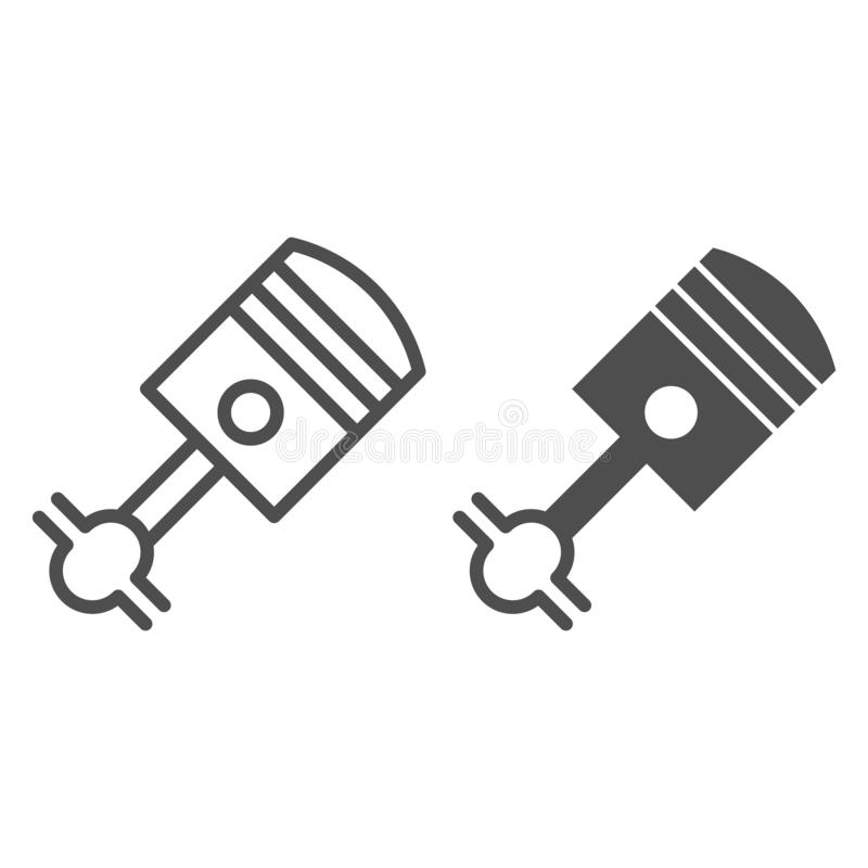 Piston line and glyph icon. Cylinder vector illustration isolated on white. Car part outline style design, designed for royalty free illustration