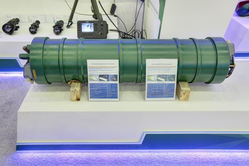Piston pneumatic hydroaccumulators. KUBINKA, MOSCOW OBLAST, RUSSIA - SEP 06, 2016: International military-technical forum ARMY-2016. Piston pneumatic royalty free stock photography