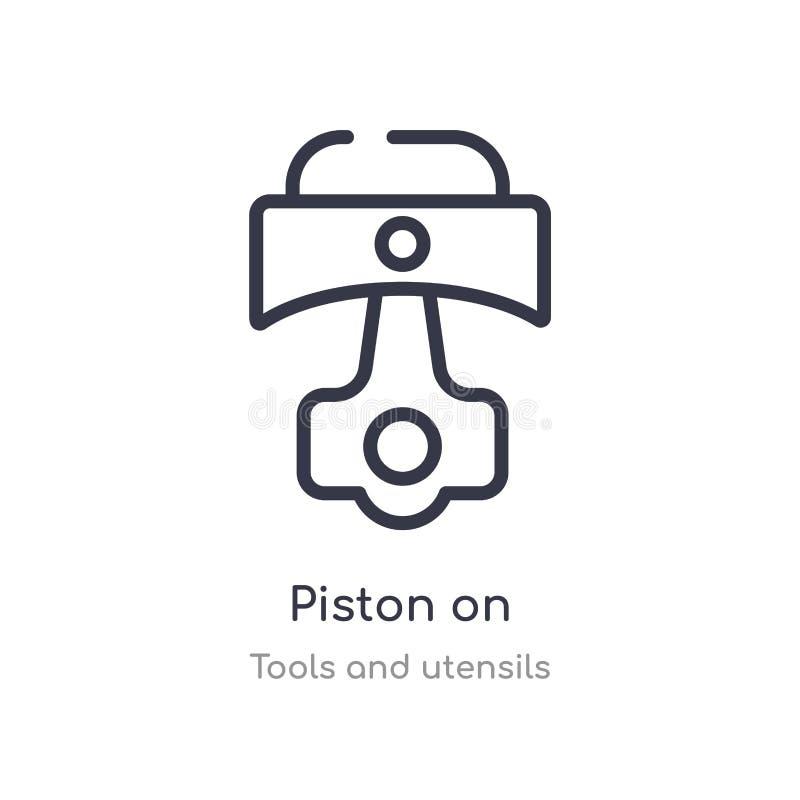 piston sur l'icône d'ensemble ligne d'isolement illustration de vecteur de collection d'outils et d'ustensiles piston mince edita illustration de vecteur