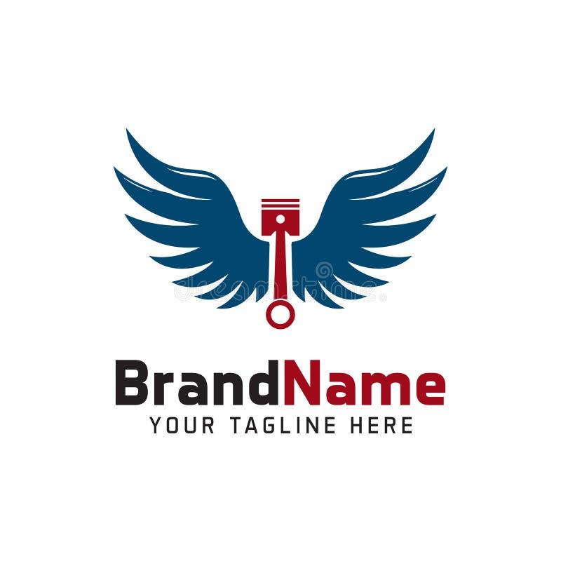 Piston wings logo stock illustration