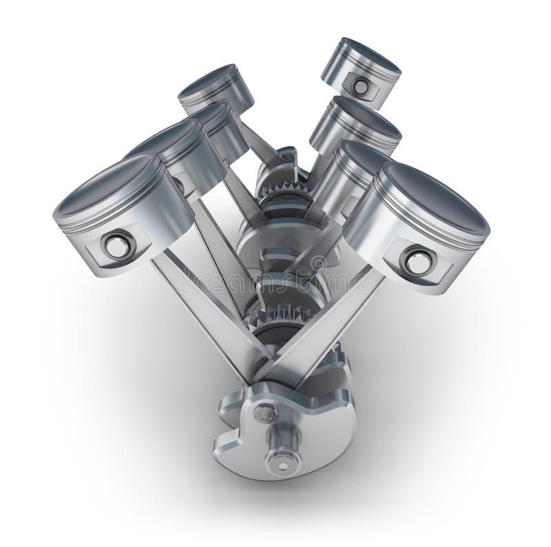Pistones del motor de V8 ilustración del vector