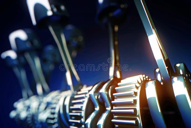 Pistones del motor y ruedas del diente con la profundidad del efecto de campo ilustración del vector