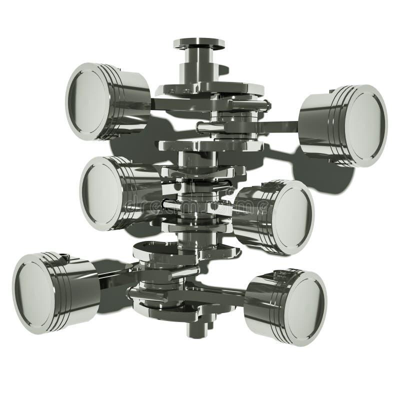 Pistonger för motor V6 i bästa sikt för kolonnbild för askar 3d platta vektor illustrationer